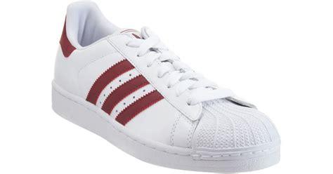 adidas superstar 2 in white for burgundy lyst