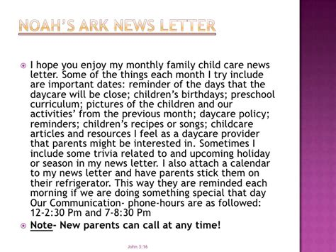 Closing Daycare Letter noah s ark quality child care slide show