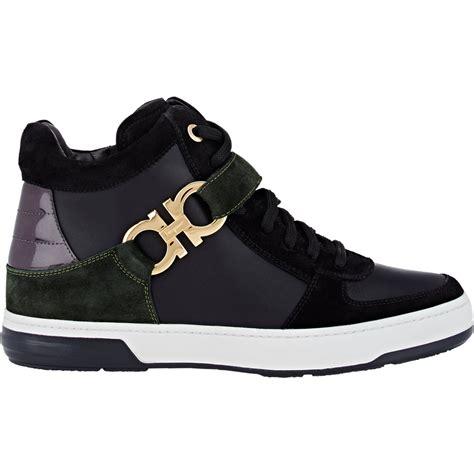 s sneakers ferragamo s nayon sneakers in black for lyst