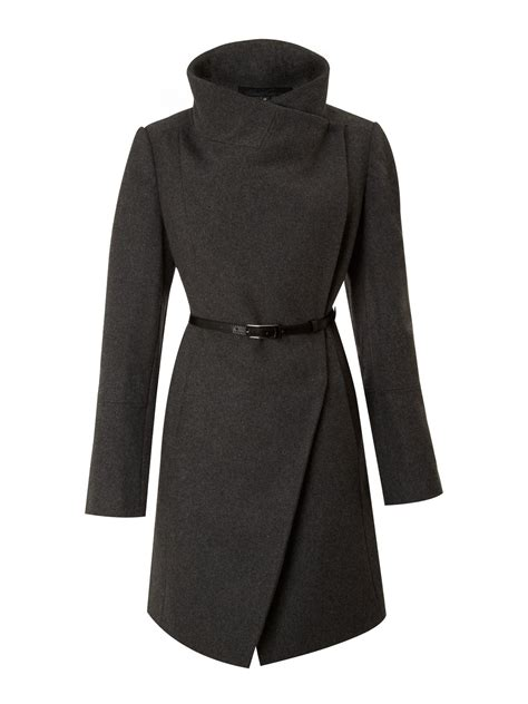Wool Belted A Line Coat From Ms by Kenneth Cole Twill Belted Wool Coat In Gray Lyst