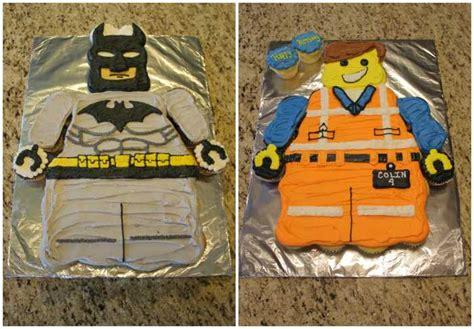 batman and emmet lego cakes