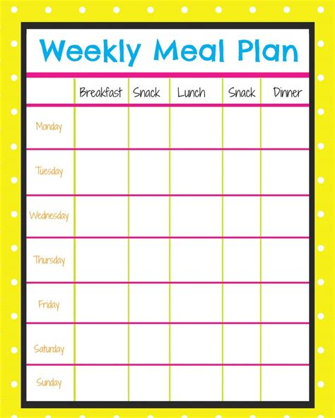 Weekly Menu Planner More Excellent Me Weekly Meal Planner Template With Snacks