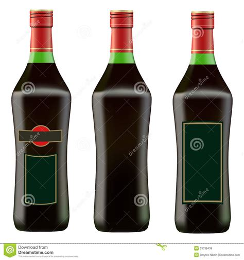 Green Bottle Of Red Martini Royalty Free Stock Photos