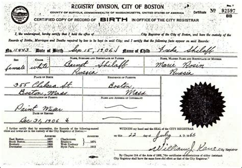 City Of Boston Birth Records