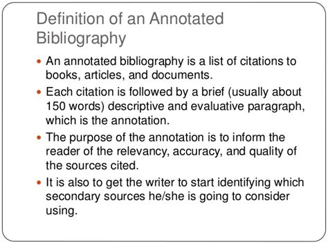 Annotated Bibliography Definition | the annotated bibliography