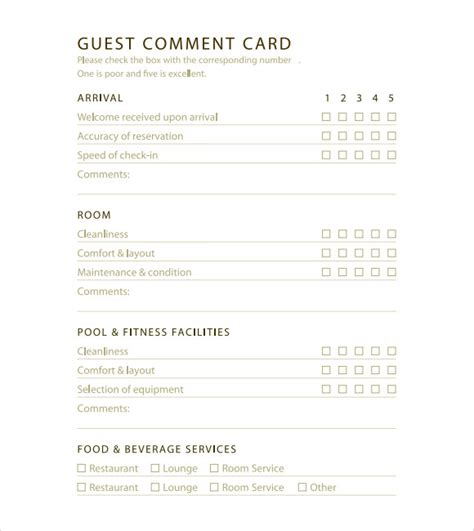 Free Hotel Comment Card Template 11 comment cards pdf word adobe portable documents