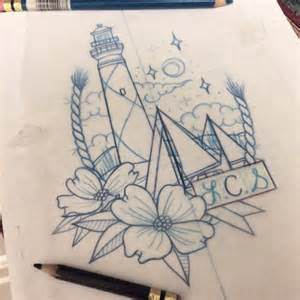 anchor with flowers tattoo 45 neo traditional lighthouse tattoos