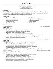Jobs On Resume In What Order by Order Picker Resume Example My Perfect Resume