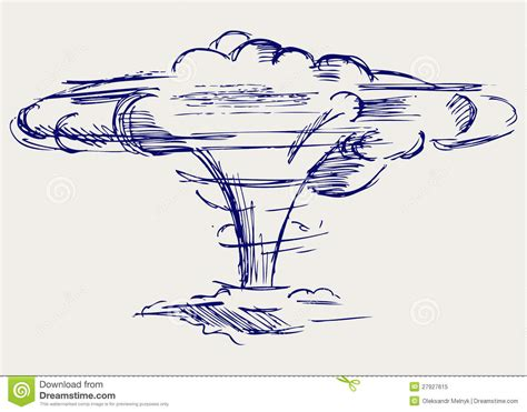 doodle how to make nuclear bomb atomic explosion doodle style royalty free stock photo