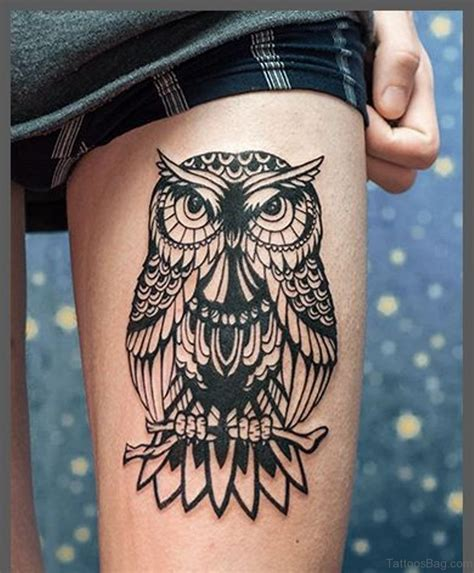 owl thigh tattoos 50 lovable owl on thigh