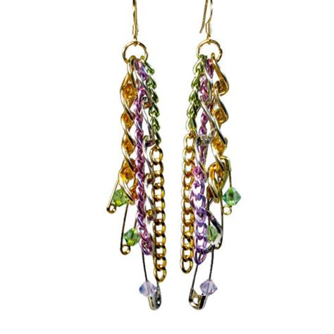 Safety Pin Statement Earrings colorful handmade upcycled jewelry statement