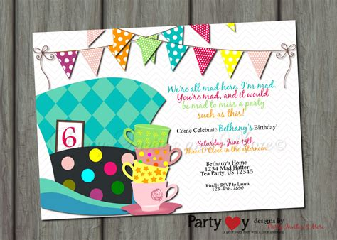 mad hatter birthday invitation in by partyinvitesandmore