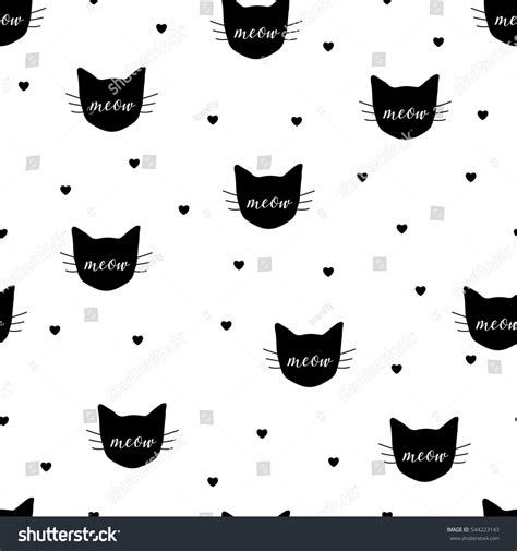 seamless pattern cats seamless pattern black cats hearts vector stock vector