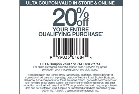 ulta coupons promos coupon codes 2015 retailmenotcom 20 off ulta coupon for january 26th through february 1st