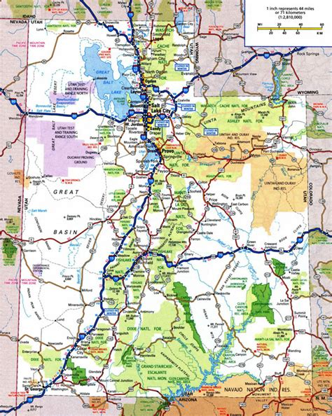us map with cities and national parks large detailed roads and highways map of utah state with