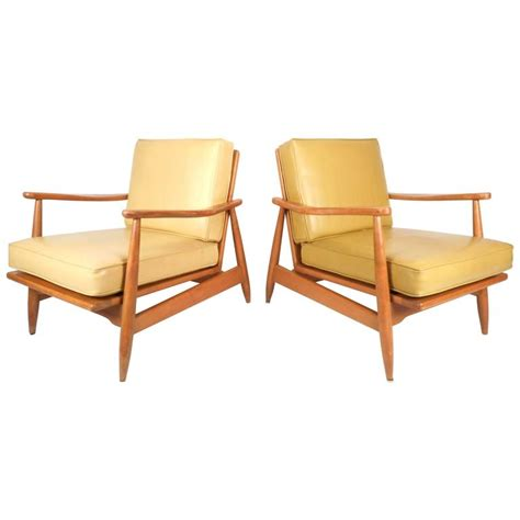 vinyl lounge chairs cheap pair of mid century modern maple and vinyl lounge chairs