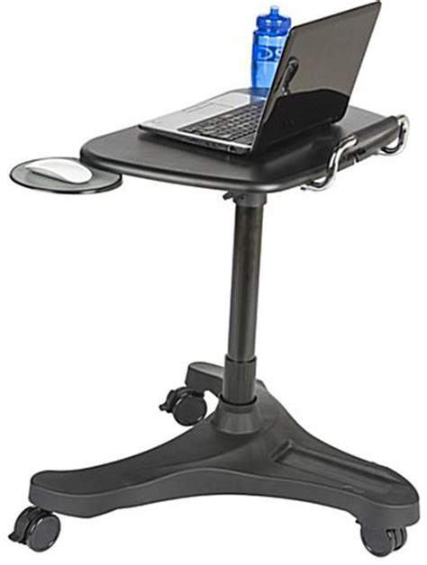 retractable stand up desk adjustable mobile laptop stand 3 wheel black base