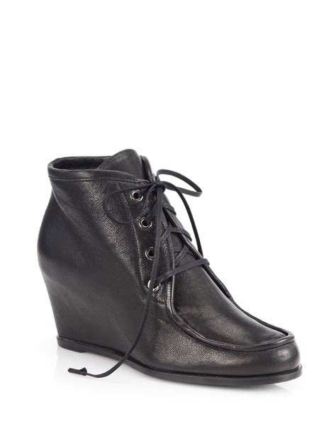 stuart weitzman ankle boots stuart weitzman wallop leather laceup wedge ankle boots in