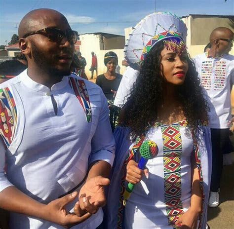 Ndebele Couple In Modern Traditional Wedding Outfit