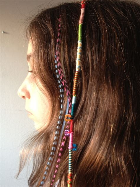 how to wrap hair with weave hair wrap with friendship bracelet string next to hair