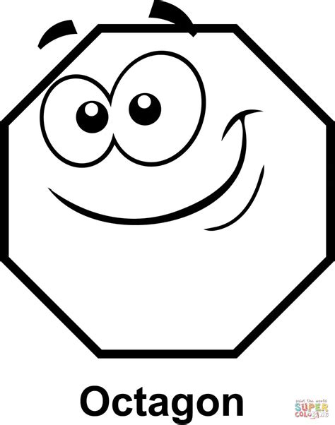 octagon with cartoon face coloring page free printable