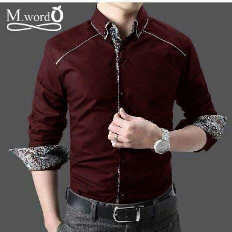 Kemeja Cowo Combi Batik kemeja batik simple combi 2 modern warna merah maroon bj0071