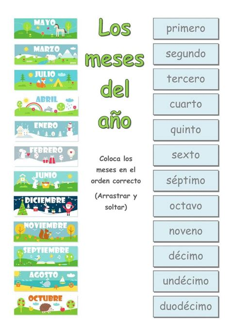 en el ano de los meses worksheet 36 best meses del ano images on pinterest spanish