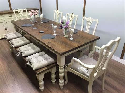 farmhouse table and bench set large 7ft farmhouse table and chairs bench shabby chic oak