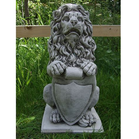 lion statue on plinth cast stone garden ornament patio shield lion garden ornament cast stone onefold uk