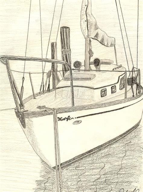 jon boat drawing sailboat in biloxi drawing by john jones