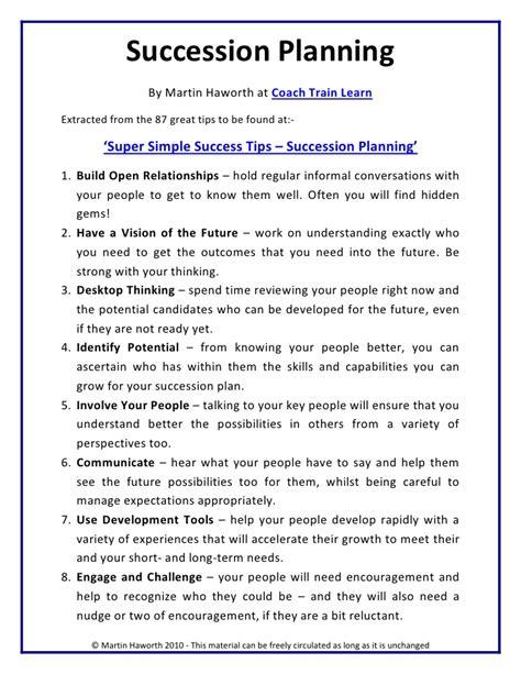 Super Simple Success Tips Succession Planning Simple Succession Plan Template