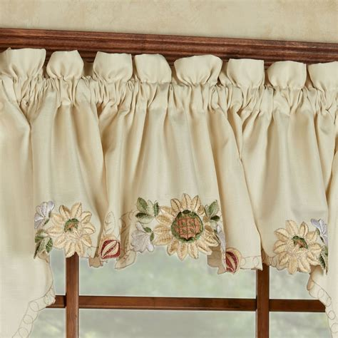 Sunflower Valance Curtains Sunflower Embroidered Tier Window Treatment