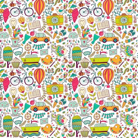 free doodle viewer for bbm vector seamless pattern childish doodles pattern set of
