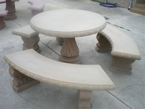 Cement Patio Tables Concrete Cement Colored Patio Picnic Table With Three Benches Ebay