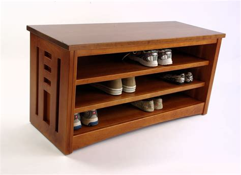 shoe storage and bench cherry wood shoe racks houses plans designs