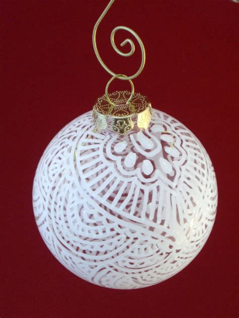 classic white henna on clear glass ornament some balls