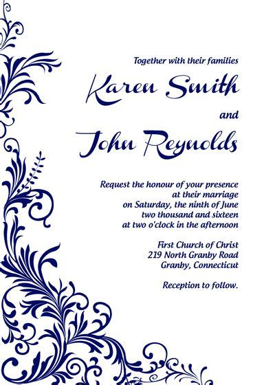 219 Best Wedding Invitation Templates Free Images On Pinterest Bridal Invitations Free Wedding Announcement Templates