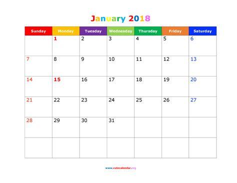 printable january 2018 calendar cute cute january 2018 calendar
