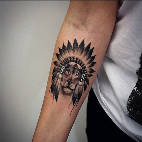 indian lion tattoo small great black and white indian on forearm