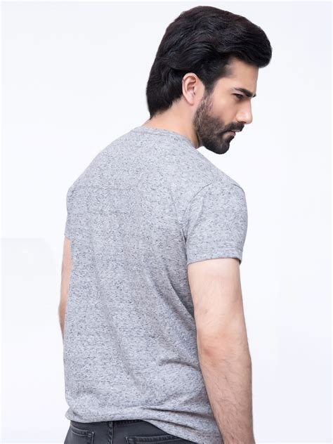 V Neck Textured Shirt grey textured v neck t shirt brumano