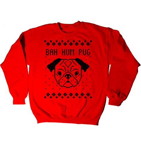 pug sweater bah hum pug sweater humor mens sweatshirt ebay