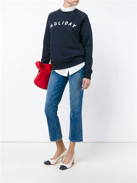 Sweater Kick Denim Current Elliott Cropped Kick Flare In Blue Denim