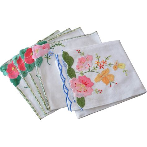 floral applique five floral applique linen cocktail napkins from