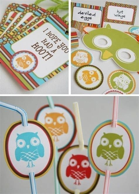 owl theme printable owl themed party pack invitations thank you