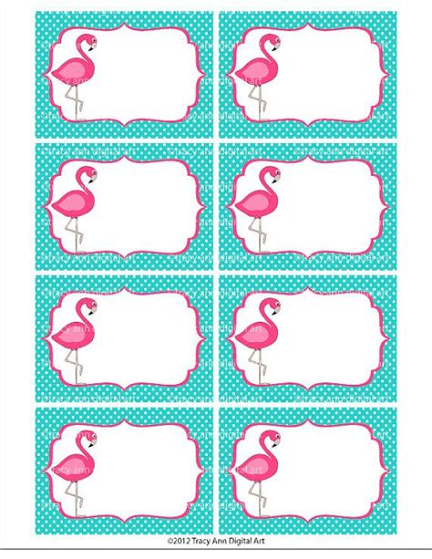 printable labels download pink flamingo printable labels or buffet cards instant
