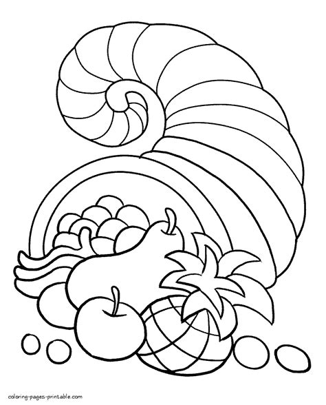 printable coloring pages thanksgiving cornucopia