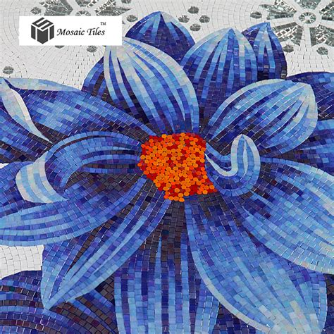 mosaico fiori tst mosaic mural jade glass sea blue big flower home hotel