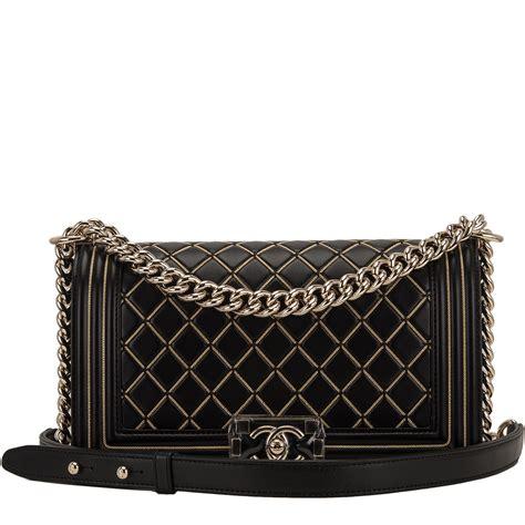 Chanel Medium chanel black lambskin chain quilted medium boy bag world