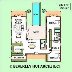 h shaped house plans with pool in the middle cape