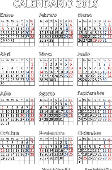 Calendario 2018 De Colombia Calendario De Colombia 2018 Imprimir El Pdf Gratis